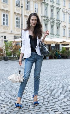 Fashion Blogger Veronika Lipar of Brunette from Wall Street on how to style jeans on a cold summer day