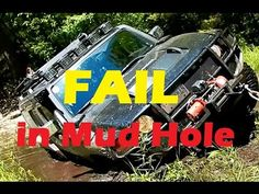 EPIC FAIL - HUMMER Stuck in Mud Hole and funny comments of passengers 4x...