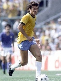 Zico of Brazil in action against Italy in the 1982 World Cup Finals.