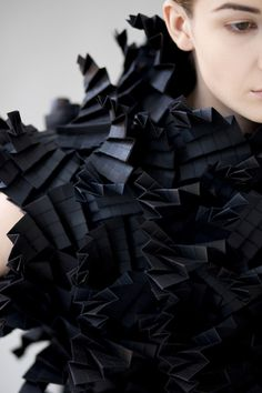 Black Texture Architectural Fashion - paper dress with complex folded structure and textures - origami fashion;
