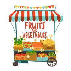 Buy Street Cart With Fruits by macrovector on GraphicRiver. Street sale cart with fruits and vegetables cartoon vector illustration. Editable EPS and Render in JPG format Quilling Paper Craft, Paper Crafts, Online Fruits And Vegetables, Vegetable Cartoon, Cheap Vegan Meals, Food Backgrounds, Fruit And Veg, Decoration, Street