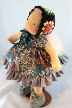 Waldorf doll dress mWool Granny hat and shoes Fits 16