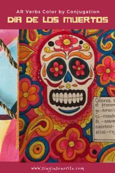 Dia De Los Muertos Ar Color By Conjugation Page Dia De Los Muertos Muertos How To Draw Hands