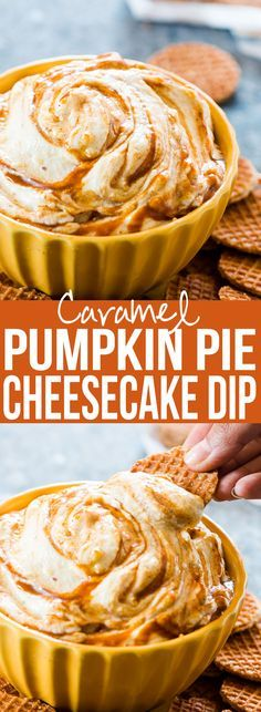 This #caramel #pumpkinpie #cheesecake #dip is a breeze to make and the perfect #fall #holiday #appetizer or #dessert. Serve it with graham crackers or like we did - waffle bites! #pumpkin #recipe My Food Story blog