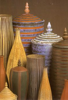 Emily Myers - Group of lidded jars and other forms: 1998