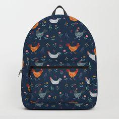 Little Hens (blue) Backpack
