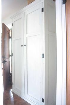 See how you can transform your entry way with hiding a cute mudroom setup inside an armoire! Free plans for a DIY mudroom in an armoire! Kitchen Pantry Cabinet Freestanding, Entryway Storage Cabinet, Diy Storage Cabinets, Primitive Cabinets, Mudroom Laundry Room, Cabinet Plans, Small Master Bedroom, Bench With Storage, Bathroom Interior