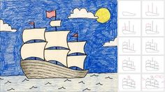 how to dra a sailing ship.  Art Projects for Kids