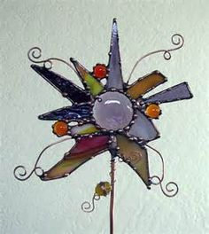 Abstract Stained Glass copper Garden Art Plant by Groovyglass