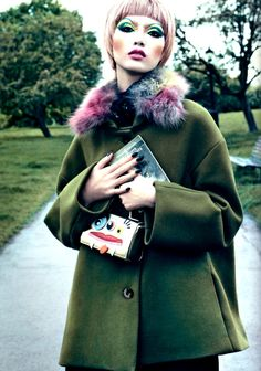 Beauty in #Vogue: wonderful Thomas Tait coat and #Moschino Cheap and Chic collar.