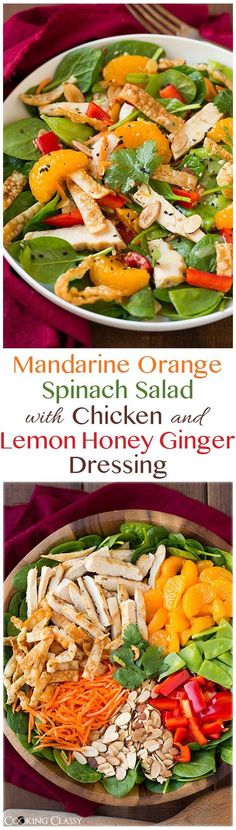 This Mandarine Orange Spinach Salad with Chicken and a Lemon Honey Ginger Dressing is out of this world delicious! You have to try this one!