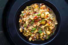 Peach Salsa ~ Summertime salsa made with fresh peaches, jalapenos, shallots, lemon, mint, and ginger. ~ SimplyRecipes.com
