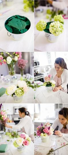 how to arrange flowers to stay with the green thing