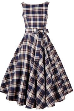 Vintage Tartan Print V Back Midi Dress OASAP.com