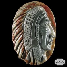 Carved XLarge American Indian Pendant Bead AD602012 | eBay