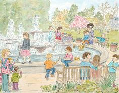 #cambridge #botanical gardens #water fountain children play around fountain while parents look on and relax in the sun