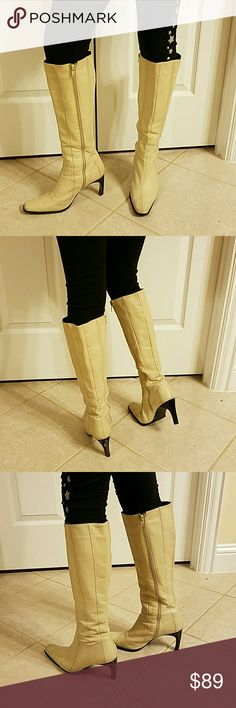 Zara beige boots size 7 This is a used Zara boots bought in Paris size is 7   If you have a big calf it will not feet is more for someone petite. Look at the pictures and you will see that have some wear marks  sold ASIS please ask any questions  related  to this items. Zara Shoes Heeled Boots