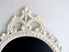 ORNATE CHALKBOARD Chalk Board Oval Wedding Sign French Country Shabby Chic Ivory Cream French Country Ornate Antique Frame Baroque Kitchen. $74.00, via Etsy.