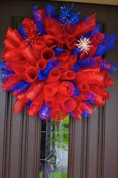 Fourth of July Wreath, Spiral Wreath, 4th of July Wreath, Wreath, Deco Mesh Wreath, Curly Wreath, Patriotic Wreath, RAZ, RAZ Wreath. $59.00, via Etsy.