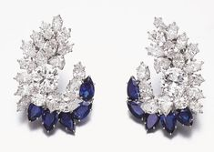 Rosamaria G Frangini | High Deep Blue Jewellery |  Harry Winston diamond sapphire earrings