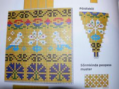 Colour chart for yellow gloves; from Helena Smitt's book, p 8 Mittens Pattern, Knit Mittens, Knitted Gloves, Knitting Charts, Hand Knitting, Knitting Patterns, Fair Isle Chart, Tapestry Crochet Patterns, Chart Design