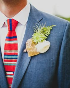 #gold sequined #ban.do #heart was incorporated into the #boutonniere // #groom #groomsmen #wedding #blooms #details