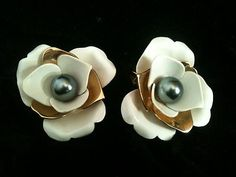 SARAH COVENTRY Vintage Pearl Cream Enamel Gold Rose Clip Earrings   eBay