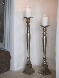 Silver Duo Turned Wood Style Movement Up Floor Candle Holders