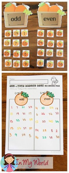 FREE Autumn / Fall Math Centers for Kindergarten. Odd and Even pumpkin number sorting activity. First Grade Freebies, Kindergarten Freebies, Kindergarten Centers, Math Centers, Kindergarten Learning, Preschool Math, Preschool Ideas, Teaching Math, Sorting Activities