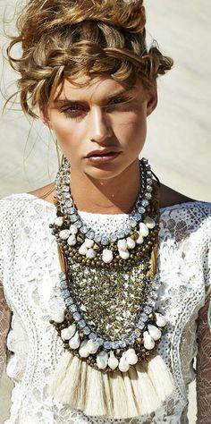 ☆ ☼ ☾ boho, white crochet, statement necklace. Grace Loves Lace. ☽☼ ☆
