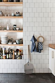 not your average farm house style. Love this inset shelving for the new downstairs bathroom, or could adapt for the alcoves?