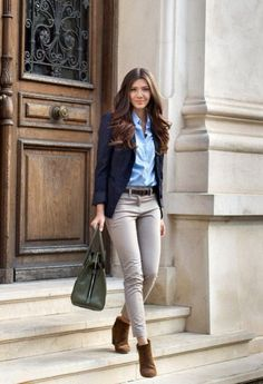 With blue shirt, gray pants and brown ankle boots - Styleoholic