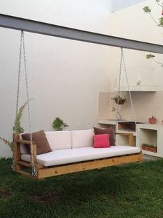 38 Charming Swing Design Ideas - The Architects Diary Swing Design, Front Yard Design, Outdoor Living, Outdoor Decor, Porch Swing, Front Porch, Pallet Furniture, My Dream Home, Exterior Design