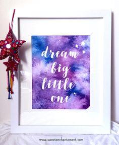 "Watercolor ""Dream Big Little One"" - Whimsical Art Print for Children's Room Wall Room Decor - Nursery - Boy - Girl - Artwork by SweetEnchantement on Etsy"