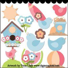 Summer Birds 1 Clip Art - Original Artwork by Trina Clark
