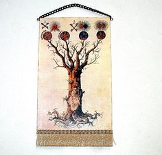 Tree of Life Tapestry Medieval Dollhouse Miniature by CalicoJewels, $16.00
