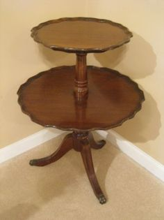 Antique Pie Crust 2 Tier Table - $100 (Canton)