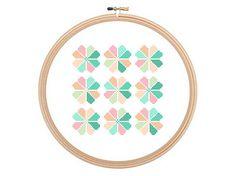 Pastel waves geometric pattern Cross stitch by HappyNeedleDesigns