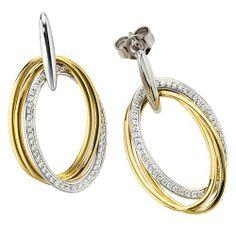 Damen-Hängerstecker gelb weiß kombiniert 14 Karat (585) Bicolor 100 Diamant 0.35 ct. Dreambase, http://www.amazon.de/dp/B0097RC09G/ref=cm_sw_r_pi_dp_-hnjtb0C67W0P