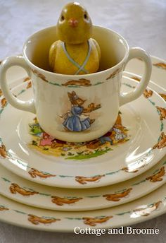 Cottage and Broome: Bunnykins Hop to the Table. Precious Bunnykins China by Royal Doulton