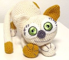 Crochet Pattern Kitten Stella Amigurumi  PDF Cute White Cat