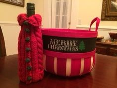 Knitted Wine Cozy If you are interested in pattern give me a shout.
