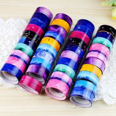 10pcs New Design 1.5cm DIY paper Sticky Adhesive Sticker Decorative Washi Tape