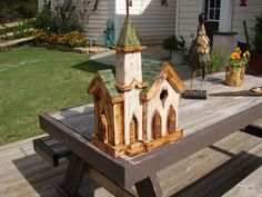 Bird house rustic white washed church with by GriffinsCountry, $130.00
