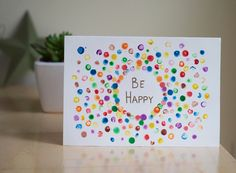 Hand drawn greeting card, Be Happy by AmoryPapel on Etsy