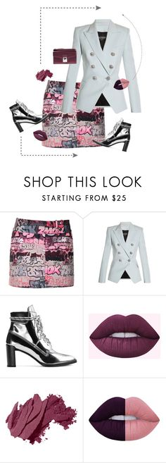 """""""SilverIsGold"""" by ell-richards ❤ liked on Polyvore featuring Giamba, Balmain, Stuart Weitzman, Bobbi Brown Cosmetics, Lime Crime and Karl Lagerfeld"""