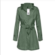 Rain Trench Coat Stylish green rain trench coat. Light weight made of a poly blend. Includes hood and belt Jackets & Coats Trench Coats