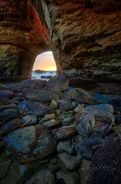"""A Window On Sunset""  Devils Punchbowl, Just north of Newport, on the Oregon coast - Photo by jerrysEYEs"