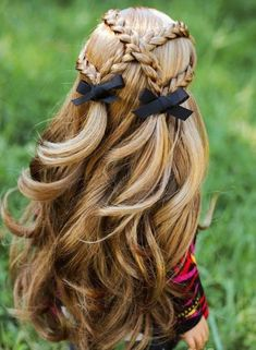 50 beautiful braids hairstyles for long hair - new ladies .- 50 beautiful braids hairstyles for long hair – new women& hairstyles - Little Girl Hairstyles, Easy Hairstyles, Hairstyle Ideas, Girls Hairdos, Hairstyles For Dolls, Pigtail Hairstyles, Girls Braided Hairstyles, Latest Hairstyles, American Girl Hairstyles