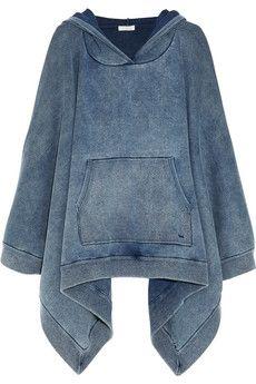 Chloé Sweat à capuche façon poncho en jersey de coton mélangé effet jean | NET-A-PORTER
